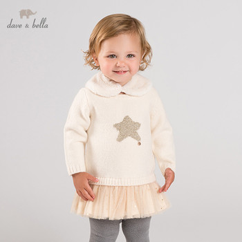 DB12391 dave bella winter baby girl's princess stars sweater dress children fashion party dress kids infant lolita clothes image
