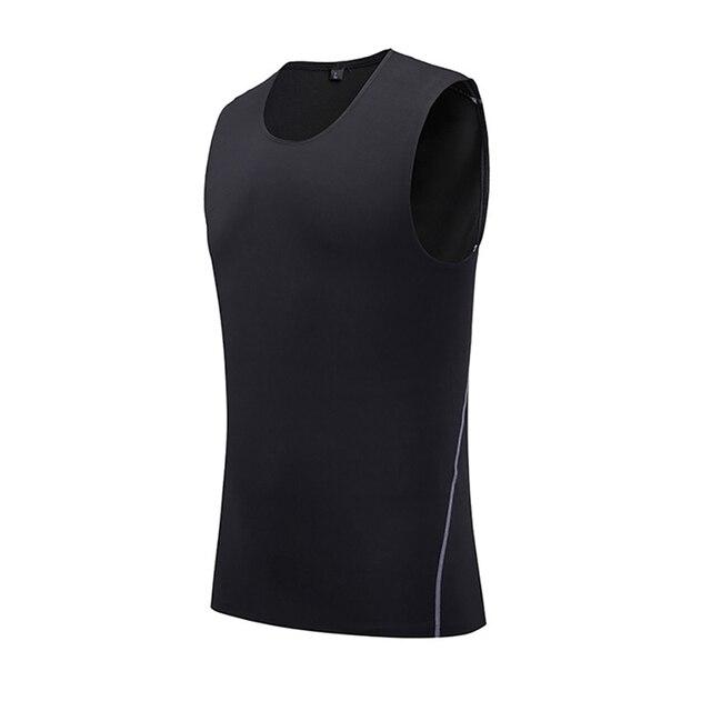 Summer Man Vest Quick-drying Slim Training Tight Gym Tank Top Sleeveless Running Round Neck Fitness Sport Tops New 1