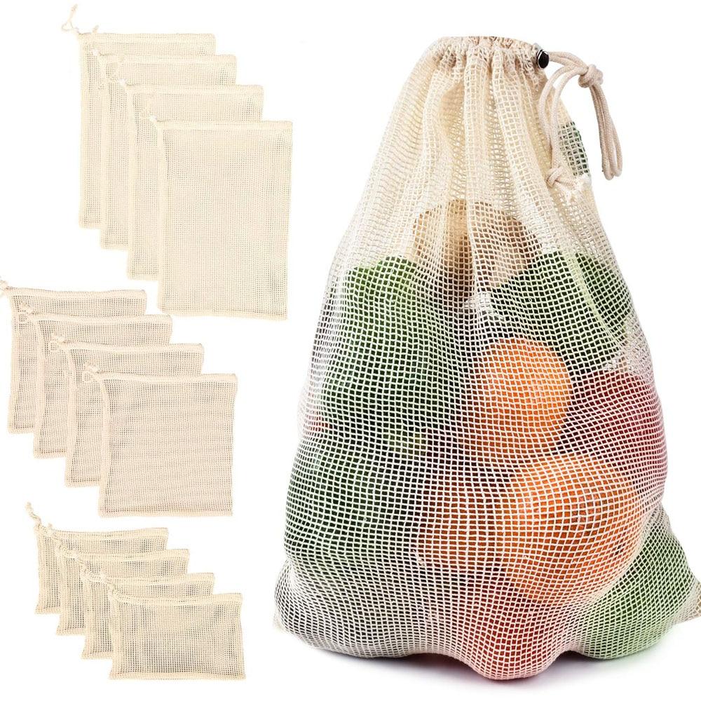 Produce-Bag Vegetable-Bags Fruit Cotton Mesh Kitchen Reusable With Drawstring