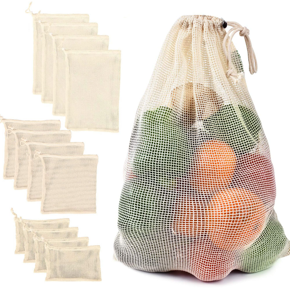 Cotton Mesh Vegetable Bags Produce Bag Reusable Cotton Mesh Vegetable Storage Bag Kitchen Fruit Vegetable with Drawstring birthday cake