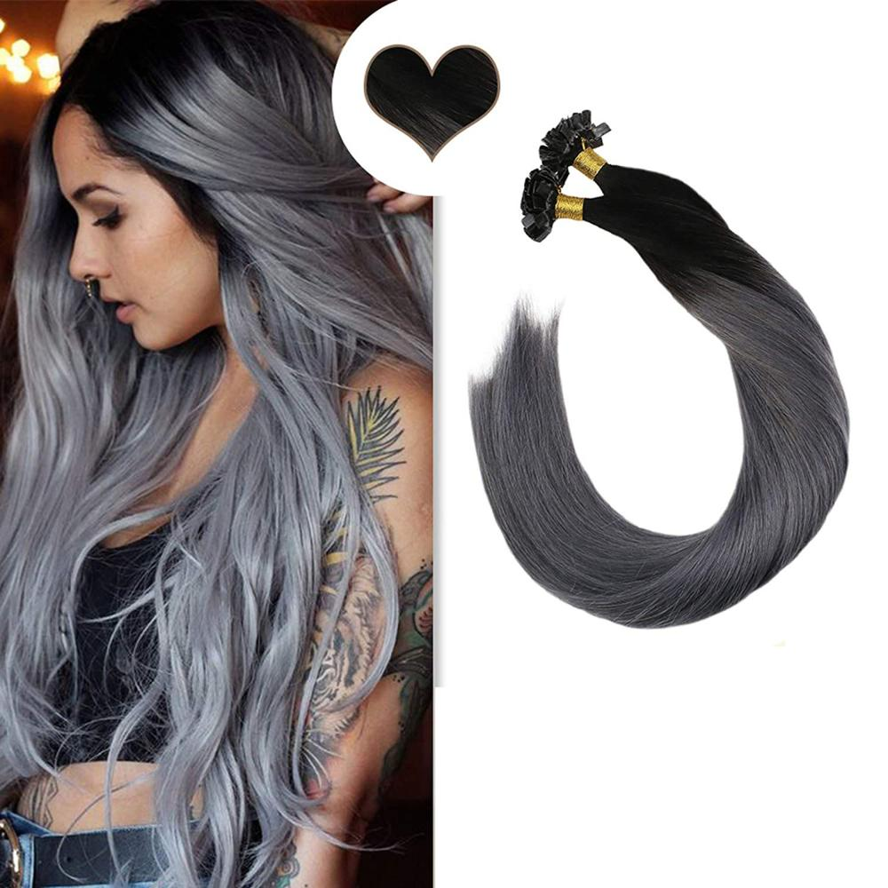 Ugeat Pre-Bonded Hair Extensions Human Hair Omber&Highlight Color Hair 14-24