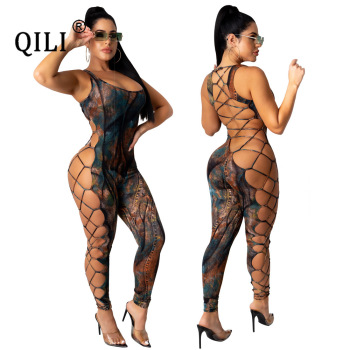 QILI Sexy Hollow Out Lace Up Womens Jumpsuits Tank Sleeve Backless Skinny Long Pants Sexy Party Club Jumpsuit S M L Xl Xxl tmc df combat pants outdoor training pants s m l xl xxl tmc2649 btc