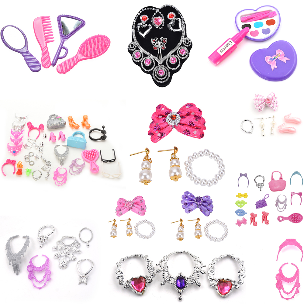 Fashion Jewelry Doll Set Of Princess Empress Crowns Necklace Earring Bowknot For Dolls Party Accessories For  Kids Gift