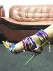 Colorido da moda Das Sandálias Das Mulheres Sapatas Das Senhoras Sapatos de Salto Alto Do Dedo Do Pé Aberto Cortar Fio De Alta Vamp Zip Up Tassel Vestido de Festa sandálias de pista