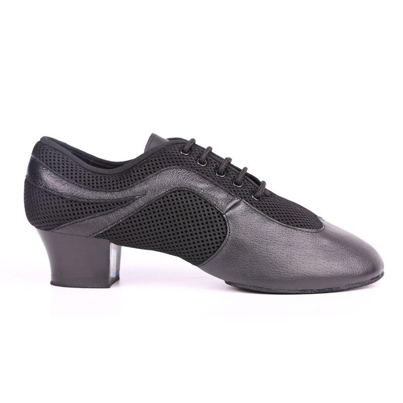 Men Latin Dance Shoes Genuine Leather Elastic Mesh BD 468 Split Sole Dancing Shoes Standard Dance  Salsa