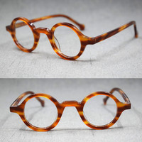 Small Vintage Round Hand Made Eyeglass Frames Full Rim Acetate Retro Glasses Eyewear Rx able