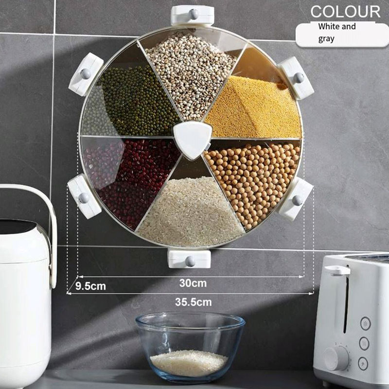 Rice bucket rice jar kitchen wall-mounted sealed container of grain can be rotated moisture-proof and insect-proof rice bucket