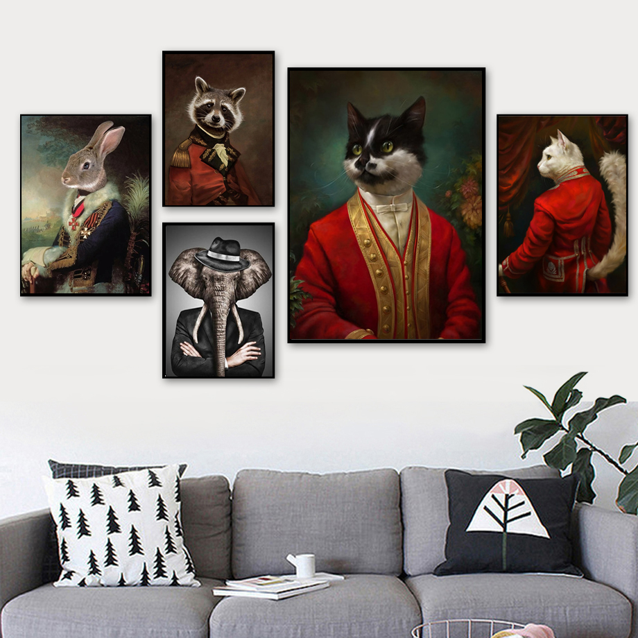 Modern Canvas Print Painting Nordic Black White Animal Dog Cat Posters Wall Art Cartoon Modular Picture for Living Room Dceor image