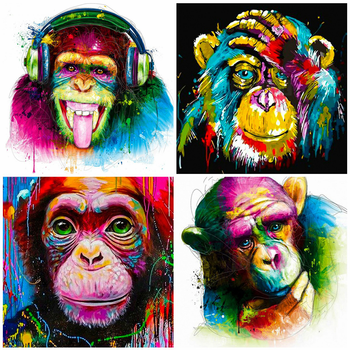 HUACAN 5D Diy Diamond Embroidery Cross Stitch Monkey Painting Full Square/round Animal Mosaic Home Decoration Gift - discount item  26% OFF Arts,Crafts & Sewing