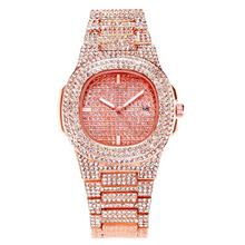 Gold Four-color Quartz Watch Fashion Square Starry Set Steel Band Rhinestone Calendar Women's