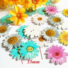 Painted Decorative-Buttons Craft Scrapbooking 2-Holes for 35mm 30pcs/Lot Daisy New