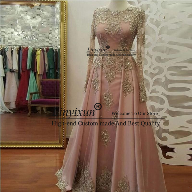 Real Photo Modest Blush Pink   Prom     Dresses   Long Sleeve Lace Appliques Crystal Party Evening   Dresses   Custom Mad vestidos de fiesta