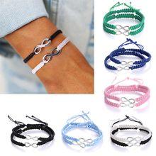 цены 2Pcs Bohemian Lucky Kabbalah Infinity Love Figure 8 Friendship Bracelet Infinity Lovers Braided kit Fashion Jewelry