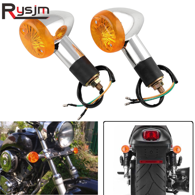 2 PCS 12V Motorcycle Turn Signal Light Front Rear Indicator For Honda For Yamaha  Virago XV 250 500 535 Moto Accessories