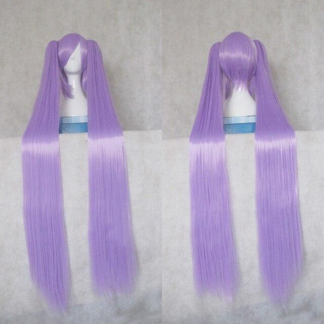 Vocaloid-perruque de Cosplay LUCKY STAR Hiiragi Kagami, cheveux longs violets et en Fiber de haute température avec Double queue de cheval + filet capillaire gratuit