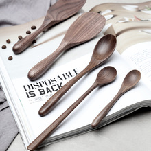 Wood tableware creative black walnut solid wood rice shovel wooden spoon dessert coffee stirring
