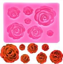 ローズの花のシリコーンモールド結婚式トッパーフォンダンケーキデコレーションツールsugarcraftキャンディ粘土チョコレートgumpaste金型