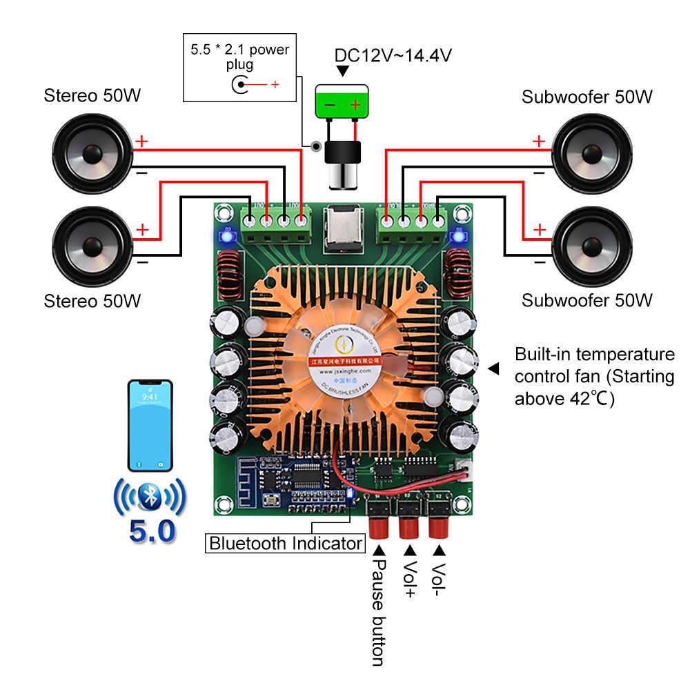 AIYIMA Bluetooth 5.0 wzmacniacz mocy karta audio 4x50W TDA7850 klasa AB HiFi wzmacniacz stereo kino domowe BTL głośnik Mini Amp