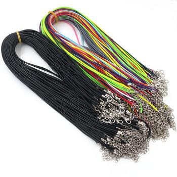 20 sztuk partia prawdziwe ręcznie skórzane regulowane pleciona lina naszyjniki i zawieszki charms ustalenia karabińczyk sznurek 2 mm tanie i dobre opinie Wadsfred necklace 0 2cm 45cm Łańcuchy leather necklace Skóra