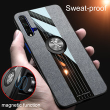 For Huawei Nova 5T Phone Cover Case Matte Fabric Magnetic Car Ring Stand Luxury For Nova Plus 2i 2 Lite 2S 3 3i 5T Pro Cases(China)