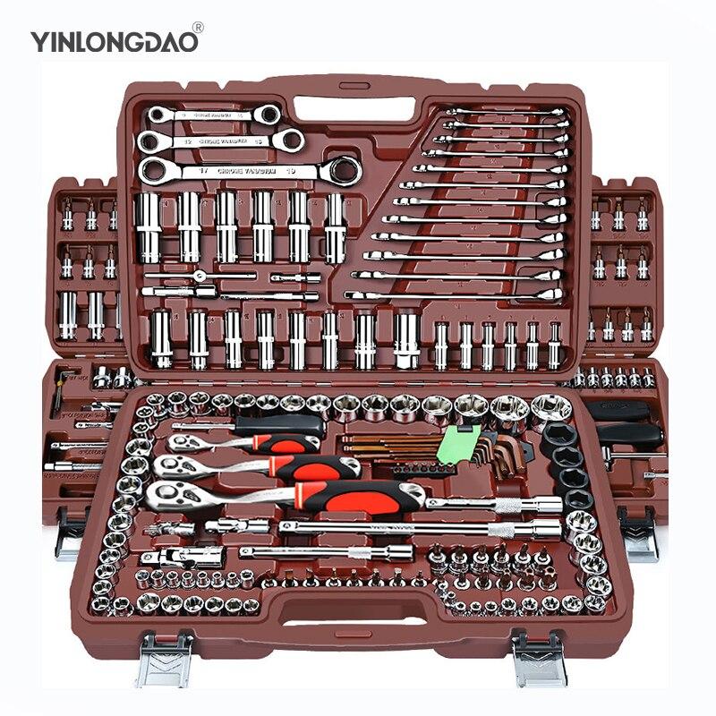 Conjunto de soquete ferramenta reparo do carro universal catraca conjunto torque chave combinação bit um conjunto chaves multifunções diy toos