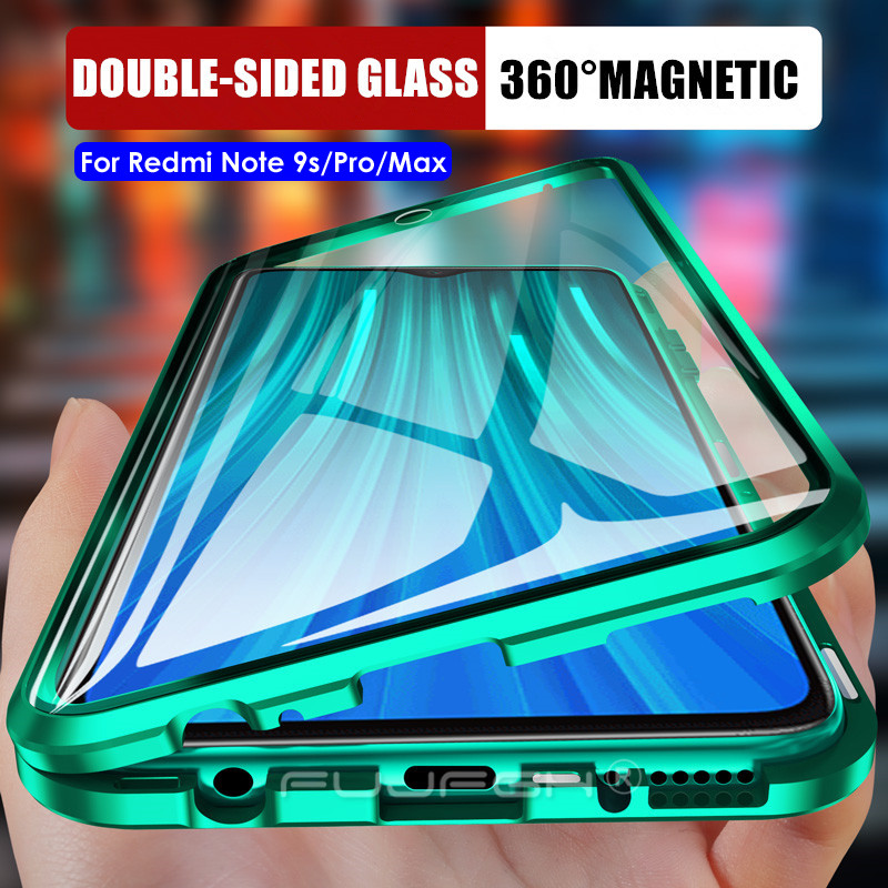 360 Double Side Metal Magnetic Glass Case For Xiaomi Redmi Note 9S 8 9 Pro Phone Cover For Xiaomi Redmi Note 9 Pro Max Flip Case