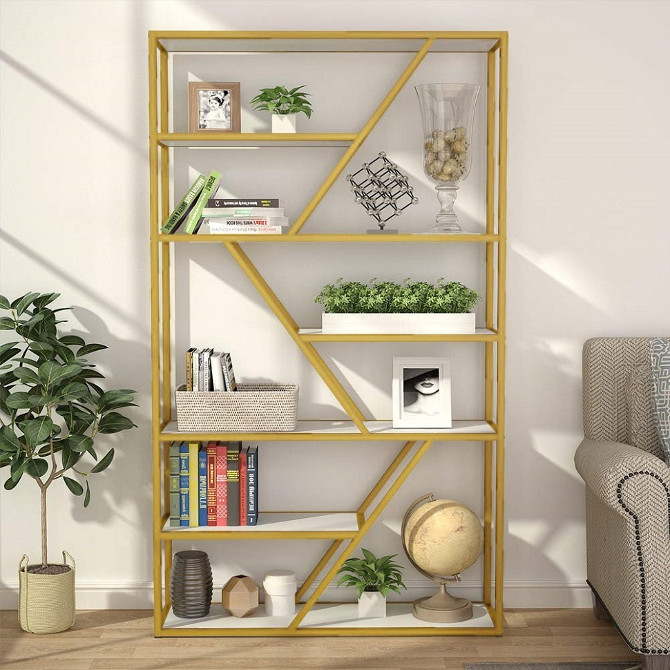 Tribesigns 7 Tier Open Bookshelf   Display Shelf Organizer with 7 Shelves Storage Capacity & Gold Sturdy Metal Frame for Home Bookcases     - title=