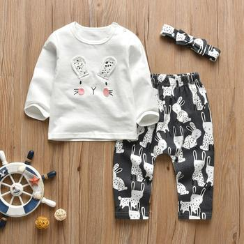 Baby Girl's Printed Sweatshirt, Pants and Headband 3 Pcs Set 2