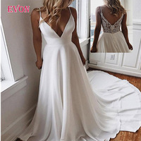 White Sexy Deep V Neck Long Evening Dresses Elegant Spaghetti Straps Lace Appliques Evening Gowns Custom Made Robe De Soiree