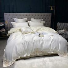 4 قطع الفاخرة الحرير القطن التطريز الفراش مجموعات مزدوجة الملكة الملك الحجم غطاء لحاف غطاء سرير مجموعة سادات