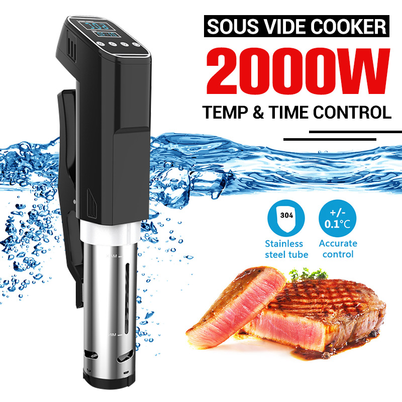 AUGIENB Vacuum Slow Sous Vide Food Cooker 2000W 15L Powerful Immersion Circulator Machine Digital Timer Display Stainless Steel