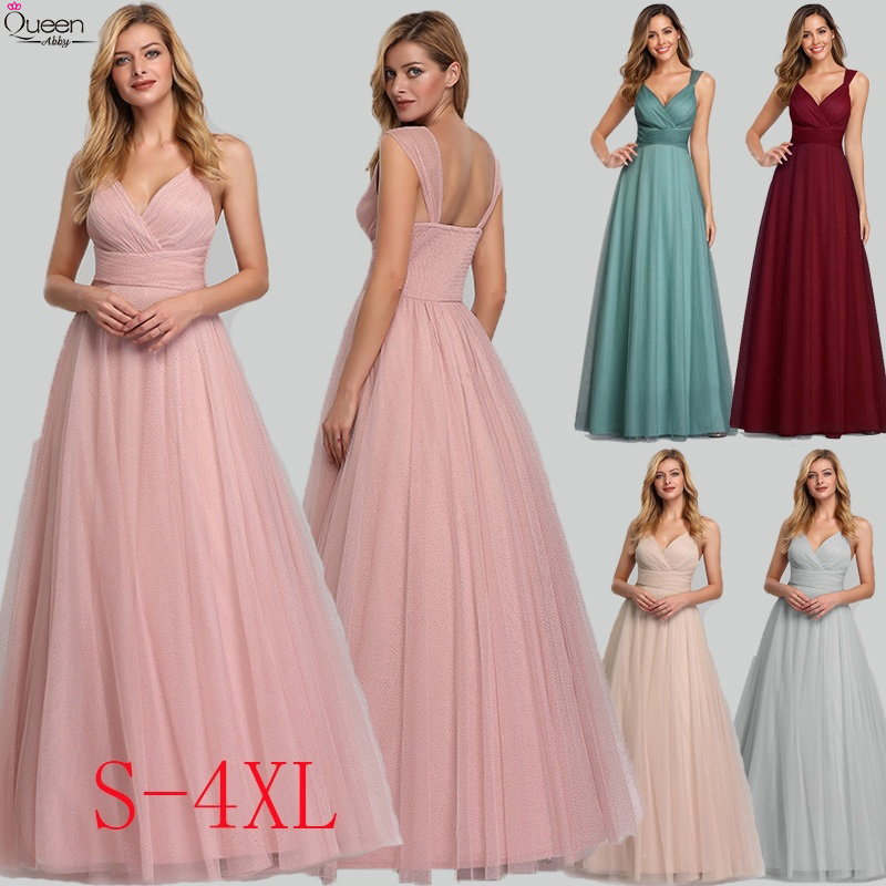 Spakle Tulle Prom Dresses Long Queen Abby A-Line V-Neck Ruched Elegant Cheap Evening Party Gowns Vestidos Largos Fiesta