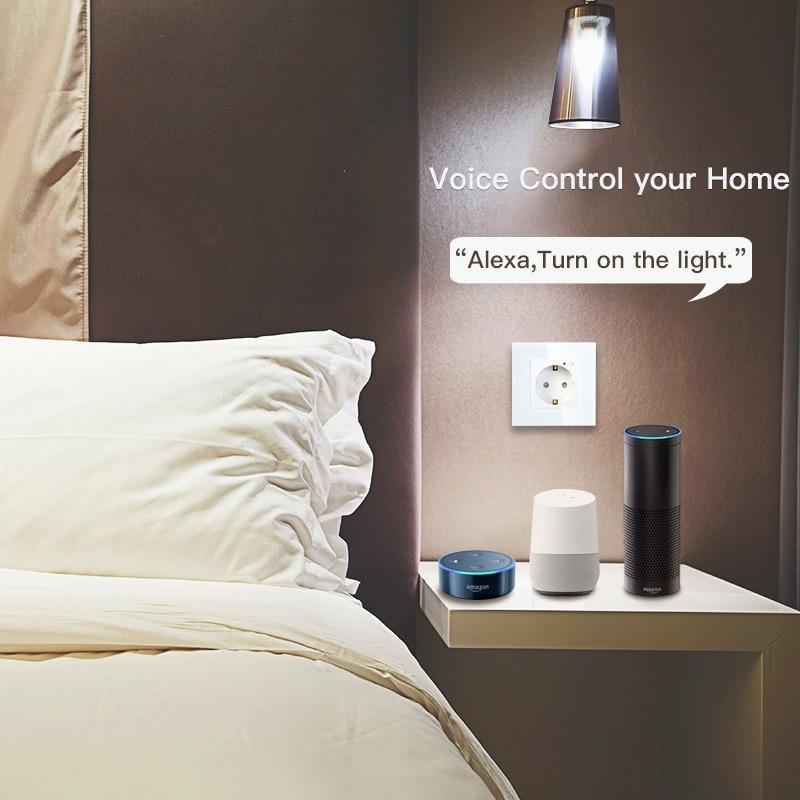 ЕС WiFi умная розетка 16А розетка стеклянная панель Gemany умная жизнь/Tuya пульт дистанционного управления работает с Amazon Echo Alexa Google Home
