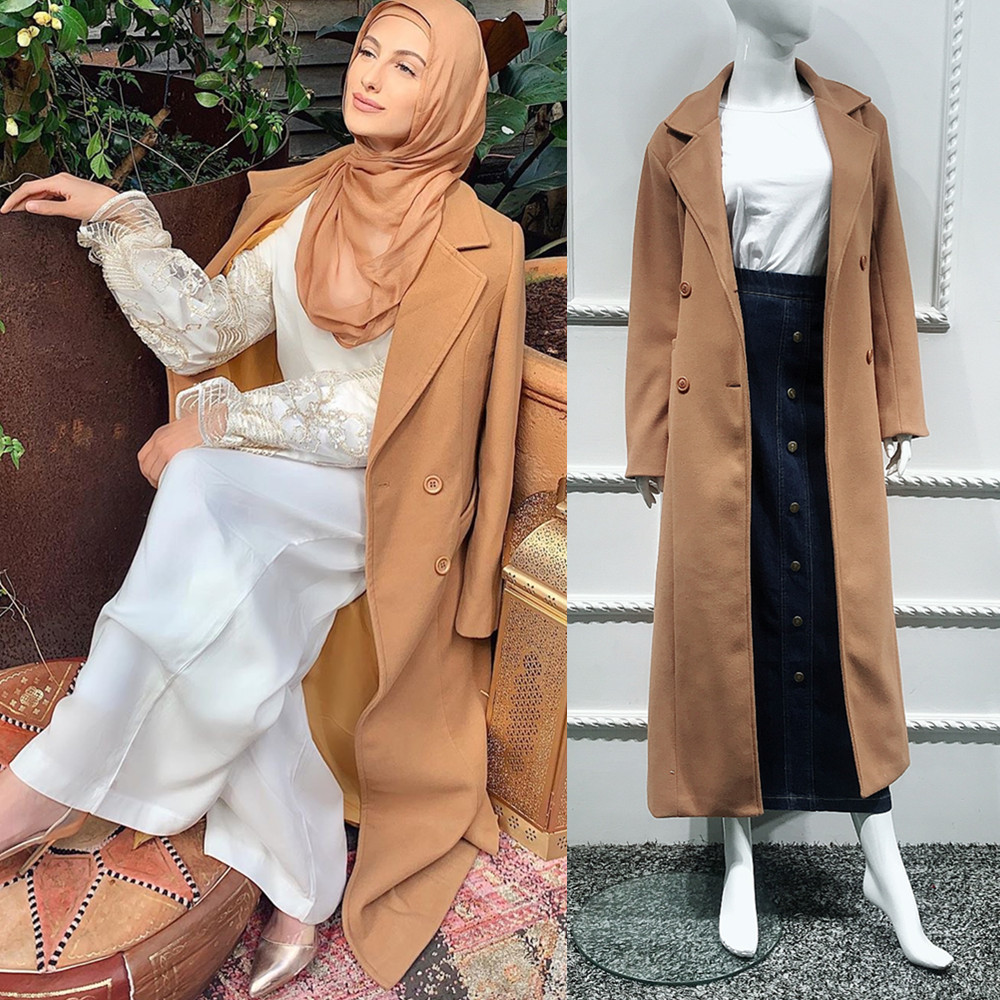 Muslim Woolen Outwear Coat Jacket Open Abaya Cardigan Kimono Long Robe Gowns Jubah Middle East Ramadan Arab Islamic Clothing