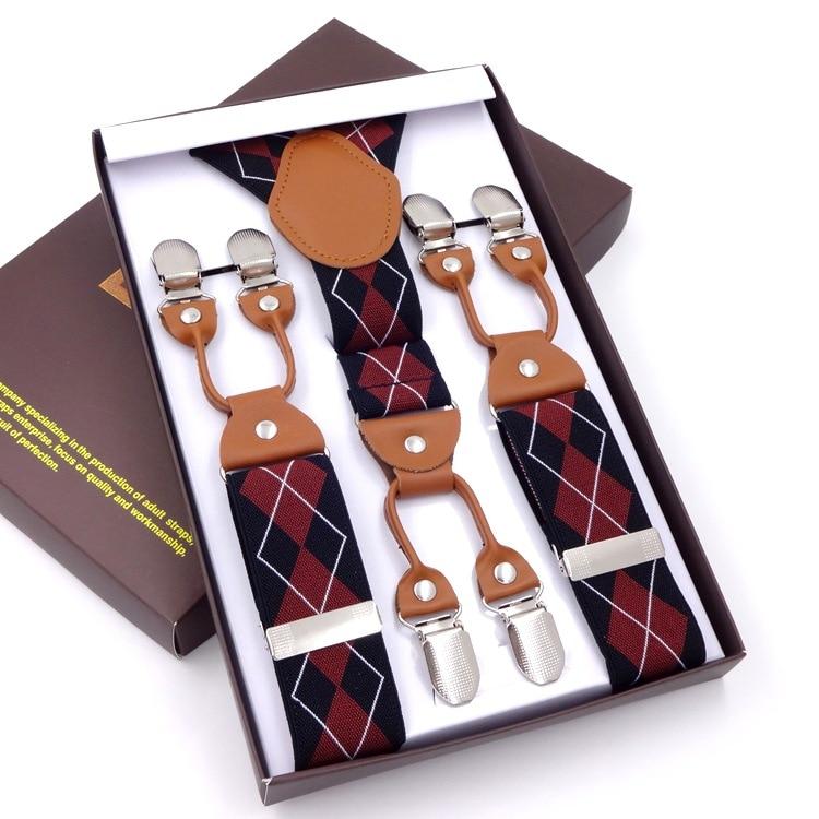 Мужские коричневые подтяжки из искусственной кожи на 6 клипсах, брюки в западном стиле, мужские подтяжки, регулируемые подтяжки, подарочная