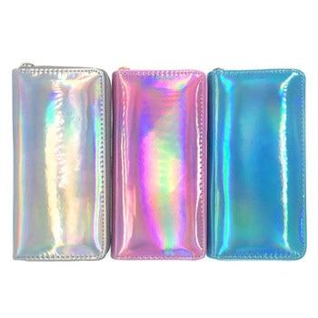 New Fashion Laser Women Wallets Zip Long Purse Leather Wallet Phone Money Pouch Card Holder Clutch Female Portfel Carteira