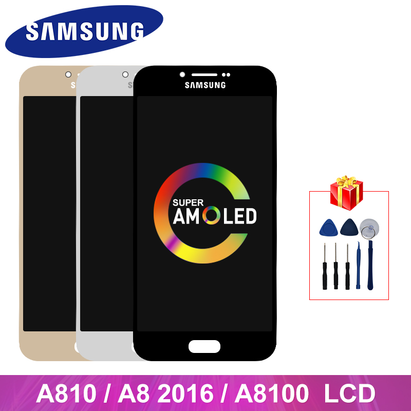 A810 LCD Super AMOLED For Samsung Galaxy A810 A8 2016 LCD Touch Screen Digitizer Display Replacement Parts A810F A810DS Display image