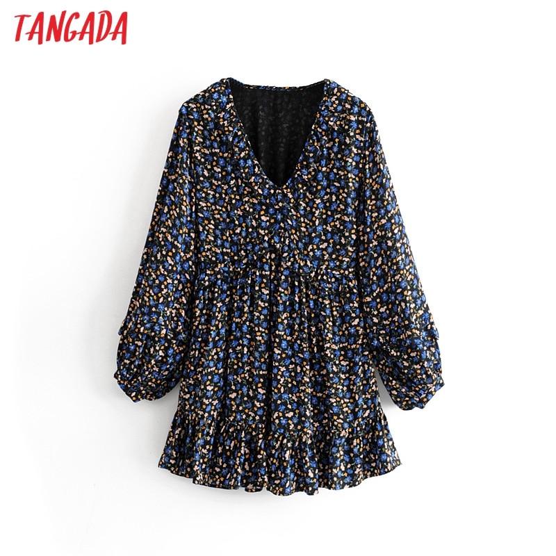 Tangada women sweet chiffon mini dress ruffle V neck long sleeve pleated female loose dresses vestidos 3H29