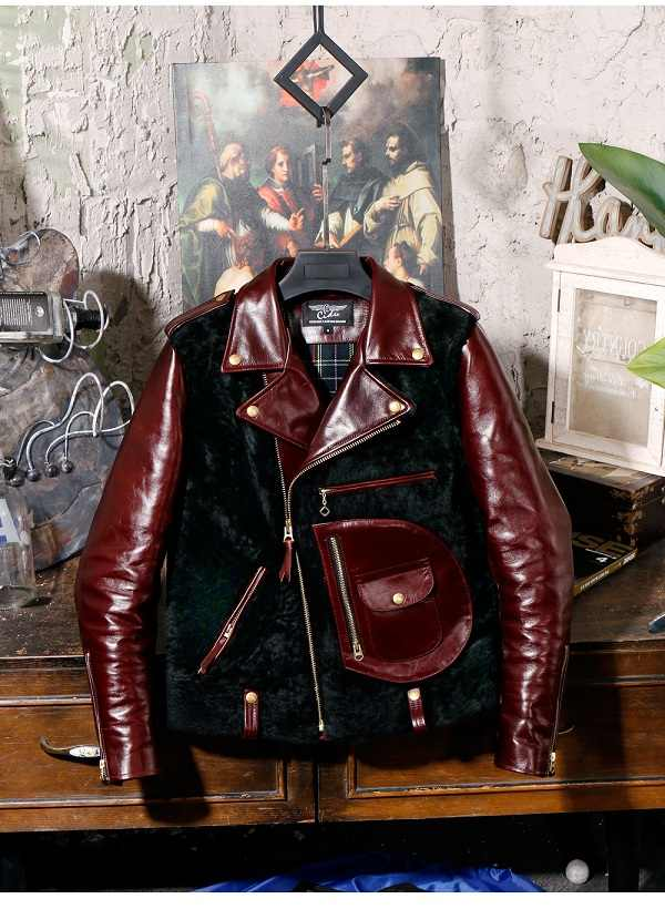 YR!Free shipping.Quality classic motor style oil wax cowhide jacket,vintage J24 Tea core genuine leather coat,winter warm wool