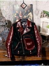 Yıl! ücretsiz kargo. kaliteli klasik motor tarzı yağ balmumu inek derisi ceket, vintage J24 çay çekirdekli hakiki deri ceket, kış sıcak yün