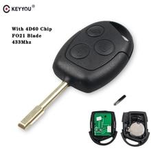KEYYOU Chiave Auto Chiave A Distanza 433MHz 4D60 Chip per FORD Focus Fiesta Mondeo Fusion Transit KA 2001 2002 2004 2005 2006 2007 2008