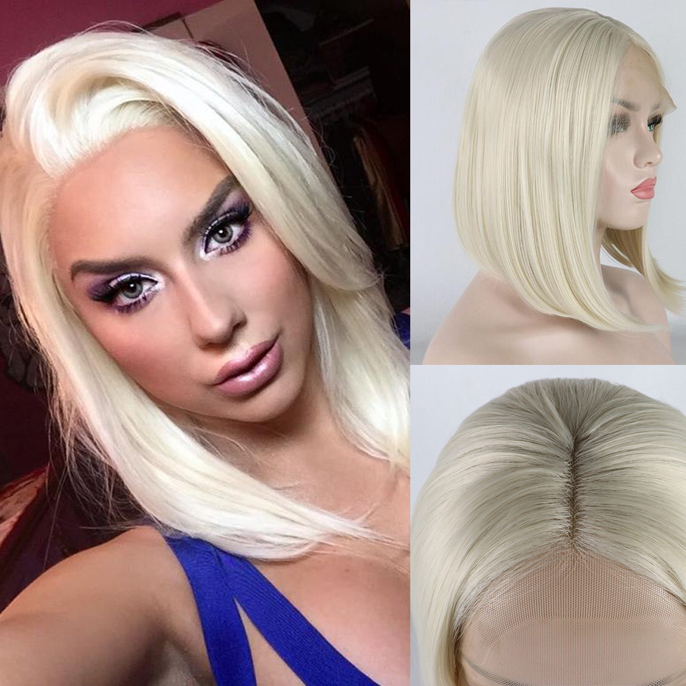 Lace Front Wig with Baby Hair 613 Straight Hair Bob Wigs For Women Heat Resistant Synthetic Wigs with Natural Hairline
