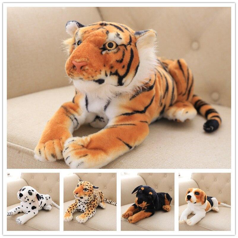 2020 New Lovely New 1pc 45cm Lifelike Soft Spotty Dog Leopard Siberian Tiger Plush Stuffed Doll Plush Simulation Animal Toys