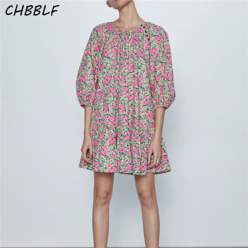 CHBBLF Women Oversized Floral Pattern Print Mini Dress O Neck Long Sleeve Female Loose Style Dresses Chic Vestidos CDC9571
