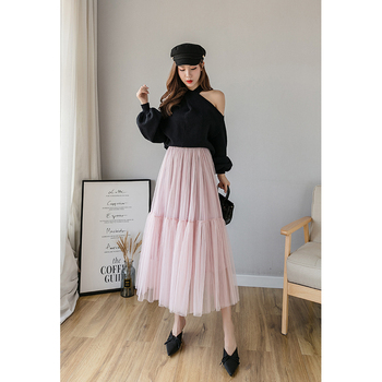Korean Style Pink Tulle Skirt for Women Pleated Midi Mesh Skirts Faldas Mujer Moda Long Skirts Womens Maxi Skirt new summer casual long mesh skirts princess elastic high waist ruffled tiered tulle pleated maxi skirts faldas mujer moda