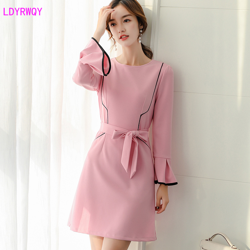 2020 spring and summer new Korean women's fashion temperament round neck lotus leaf sleeve color matching slimming dress