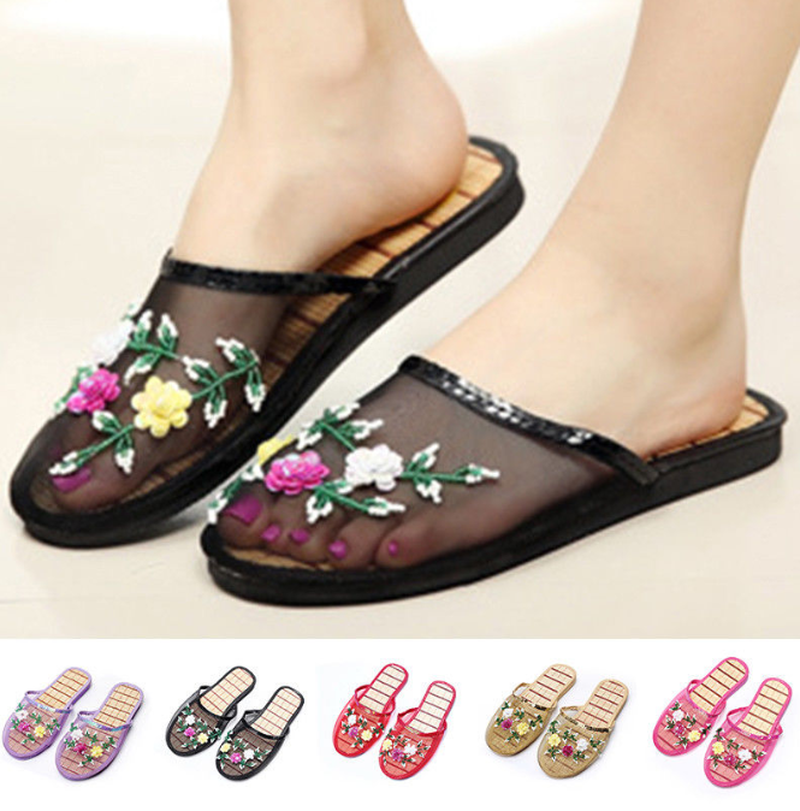 Women Chinese Mesh Floral Sequins Slippers Slides Slip On Flats Flip Flop Loafers Sandals Summer Breathable 11 Colors B204