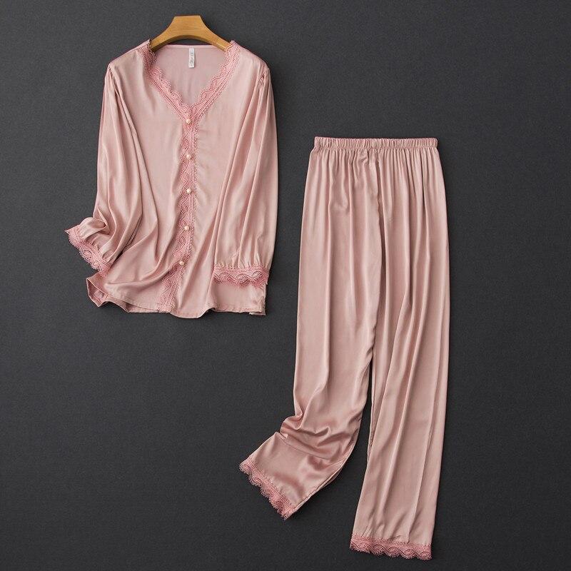 Satin Pyjamas Women Pajamas Sets with Pants Long Sleeve Silk Sleepwear Pijama Mujer Female Nightsuit