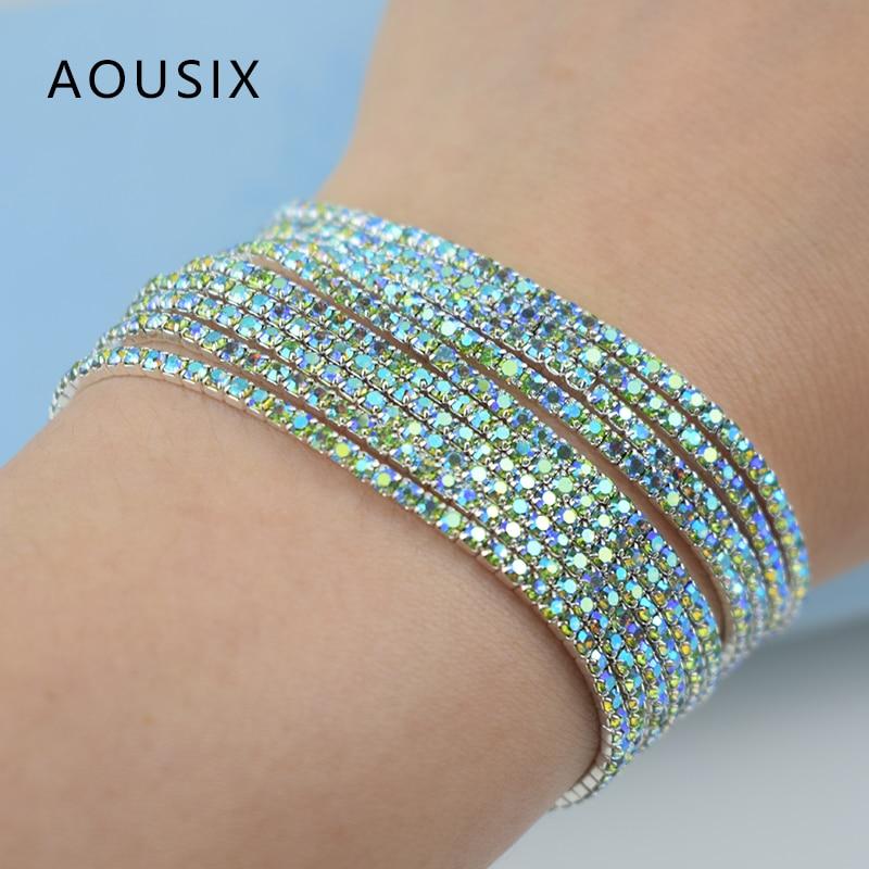 10 pcs/Set elastic force Bracelet Bangle for Women Crystal rhinestones Wedding Bracelets & Bangles Jewelry Pulseira Feminia Gift