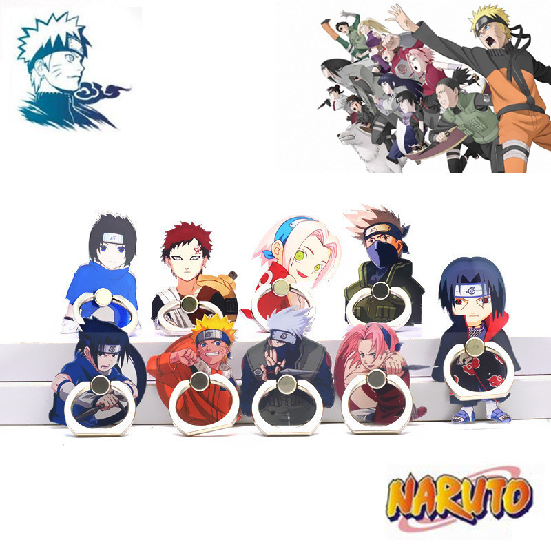 Anime Naruto Akatsuki Uchiha Itachi Cosplay Props Kakashi Mobile Phone Stand Holder Metal+Acrylic Ring Adjustable Frame Foothold